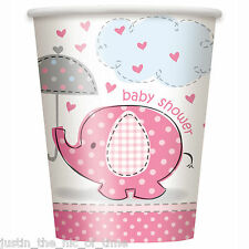 PINK UMBRELLAPHANTS Baby Shower Girl Party Tableware Cup 9oz PAPER CUPS x8