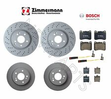 For Mercedes W203 C230 C280 Front and Rear Brake Disc Rotors Pads & Sensors KIT