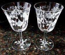 Pair of Wine Glasses Crystal Goblets Floral Etched Base