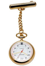 Bernex GB31101 SWISS MADE Infermieri Fob Watch Gold Piastra con data