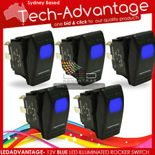 5 X 12V BLUE LED CARLING STYLE ILLUMINATED ROCKER SWITCH - BOAT/CAR/CARAVAN/4X4