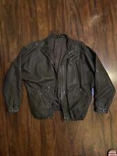 Women's LANVIN Size 10 Genuine Leather Motorcycle Brown Jacket Vintage Rare !!!!