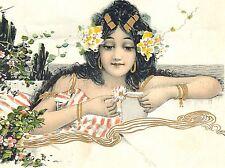 PAINTING POSTCARD GIRL DAISY FLOWER TUCK NOUVEAU ART POSTER PRINT LV2838