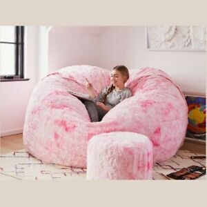 Giant Removable Washable Bean Bag Bed Room Cover Living Fur Furniture 6ft Sofa L