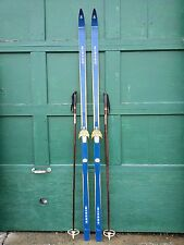 """VINTAGE Wooden 84"""" Skis Has  Blue Finish Signed MIRAGE + Bamboo Poles"""
