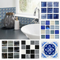 18PCS 10x10cm Waterproof 3D PVC Mosaic Wall Tile Stickers Kitchen Bar DIY 13US