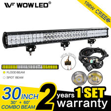WOW - 198W CREE LED Combo Driving Work Light Bar ATV UTE Truck Boat 4WD + Wiring