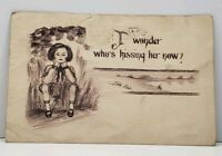 TOM YAD I WONDER WHO IS KISSING HER NOW CAMBRIDGE SPRINGS PA 1911  Postcard G16