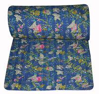 Blue Handmade Kantha Quilt Handmade Cotton Queen Bedspread Throw Blanket Hippie