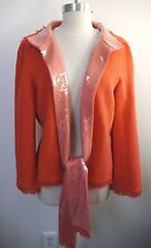 CHANEL $4,590 coral tweed jacket with sequin trim size 44 WORN ONCE