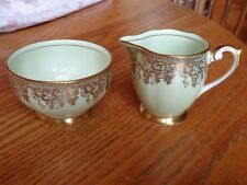 Queen Anne China England 4322 Green Gold Filigree Scalloped Creamer Sugar Bowl