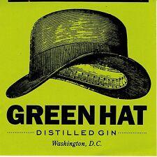 New Columbia Distillers Green Hat Craft Distilled Gin sticker Washington DC