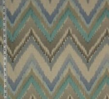 Aqua blue ikat fabric chevron cotton home decorating material upholstery BTY
