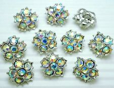 """8 Sparkling 1/2"""" Rainbow Crystal Rhinestone Star Metal Sewing Buttons #S572"""
