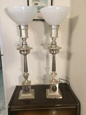 Colonial Premier Table Lamps Antique Nice Pair Plated