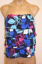 NWT Caribbean Joe Swimsuit Tankini Top Multi Blue Pink Ruffles