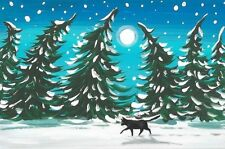 LE #1 4X6 POSTCARD RYTA BLACK CAT CHRISTMAS FOLK ART WINTER SCENE FROSTY PINE