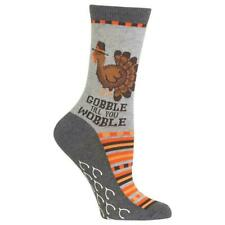 Thanksgiving Socks Gobble Til You Wobble Turkey Sock Novelty Humor Hot Sox 4-10
