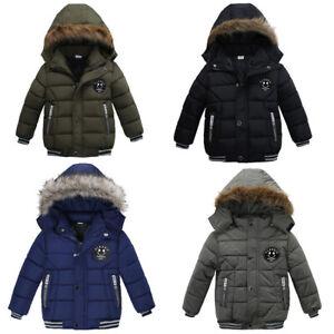 Kids Winter Thick Coat Jacket Warm Hooded Boys Girls School Outwear Age 1-5Years