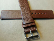 New Mens Brown Genuine Leather 22mm Watch Band Strap Smartwatch Silver Buckle