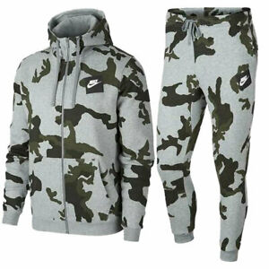 NIKE AH7019 Mens AOP Camo Club Print Zip Hoodie and Tracksuit Bottom Cotton Tops