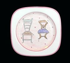 Chic Square Dinner Plate Depicting Chairs by Inspirado Hndpntd Dtd 2000 NWT