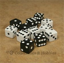 NEW Set of 12 Black & White Dice 16mm 5/8 inch RPG Bunco Board Game Six Sided D6