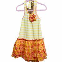 Little Lass NWT 2T Girls Orange & White Halter Flower Dress