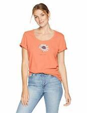 Life is Good Womens T-Shirt Beautiful Daisy Small Orange