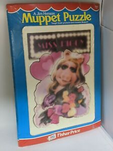 Fisher Price 1981 Muppets Miss Piggy Flowers VTG Tough Finish Puzzle #542 SEALED