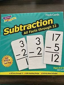 Subtraction - All Facts Through 12 - Flash Cards - Skill Building And Test Prep