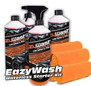 4 500ML WATERLESS KIT CAR WASH CLEANER CARNAUBA WAX SHINE POLISH 4 CLOTHS V10