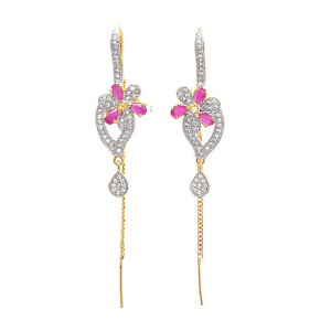 Gold Plated American Diamond Needle And Thread Earrings Womens Fashion Jewelry