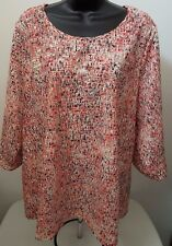 Laura Ashley Woman's Plus Orange/Red/Black/Beige Design/Striped Shirt Size 2X
