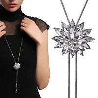 Mode Frauen Kristall Strass Blume Anhänger Lange Pullover Kette Halskett oq