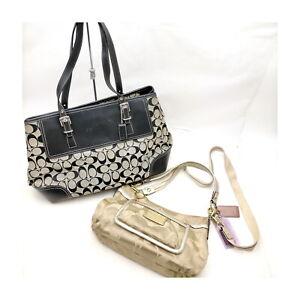 Coach Tote Bag  2 set Black Canvas 1136068