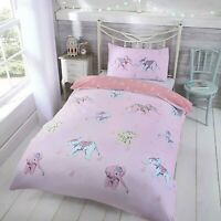 Childrens Duvet Cover - Single Cotton Easy Care Pink with Elephants Bedding Set