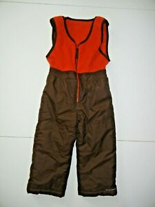 COLUMBIA Red/Brown Nylon SNOW BIBS Winter Ski Snowboard Pants YOUTH 4T Toddler