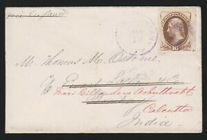 10c Continental Bank Note (Scott 150), purple R.P.O. cancel on cover to India