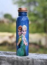 Copper Water Bottle With Lid Frozen Girl Printed Multi-Color For Drinkware