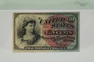 PMG AU 58 10 Cent Fourth Issue Fractional Currency Fr#1259 Blue Right End