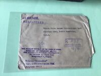 Union of Burma Rangoon Registered Ministry of Industry stamps cover ref 50482
