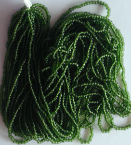 """Vintage Forest Green 10/0 Seed Beads Transparent Round Glass Long 20"""" Hank 16bpi"""