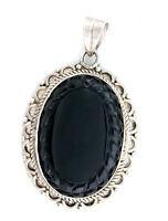 Natural Oval Custom Cut Black Onyx Heavy Cast Sterling Silver Cabochon Pendant