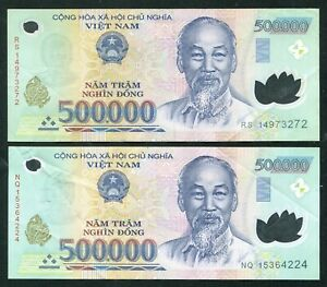 1 Million Vietnam Dong currency = 2 x 500000 500,000 dong , used condition