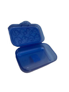Sterilite Blue Pencil Box Case with Circle Patterned Lid. Stackable