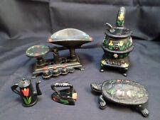 Vintage Miniature Cast Iron Pot Belly Stove, Scale, Turtle, Iron, & Tea Pot