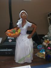* HANDMADE CLAY SCULPTURE * BEAUTIFUL AFRICAN LADY  *
