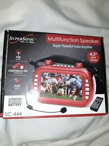 SuperSonic SC-444 Multifunction Speaker Radio With USB, Micro SD, AUX Inputs Red