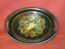 Antique Tole Toleware Tray with Nautical Seashell Decoration .